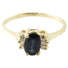 Vintage 14 Karat Yellow Gold Sapphire and Diamond Ring Size 6