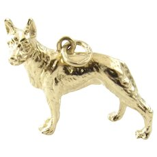 Vintage 14 Karat Yellow Gold German Shepherd Charm
