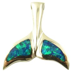 Vintage 14 Karat Yellow Gold and Opal Whale Tail Pendant