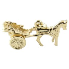 Vintage 14 Karat Yellow Gold Horse and Buggy Charm