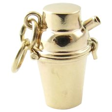 Vintage 14 Karat Yellow Gold Cocktail Shaker Charm