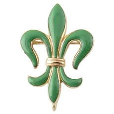 Vintage 14 Karat Yellow Gold and Enamel Fleur De Lis Brooch/Pin