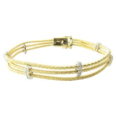 Vintage 18 Karat Yellow and White Gold and Diamond Bracelet