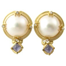 Vintage 18 Karat Yellow Gold Mobe Pearl Amethyst and Diamond Earrings