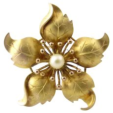 Vintage 14 Karat Yellow Gold and Pearl Clematis Flower Brooch/Pin