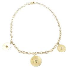 Vintage 14 Karat Yellow Gold and Diamond SPCA Cat Necklace