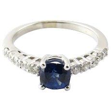 Vintage 18 Karat White Gold Sapphire and Diamond Ring Size 6.5