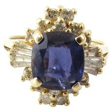 Vintage 14 Karat Yellow Gold Amethyst and Diamond Ring Size 6