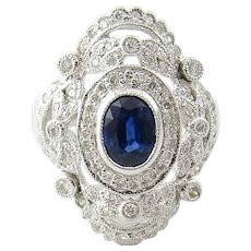 Vintage 18 Karat White Gold Sapphire and Diamond Ring Size 6.75