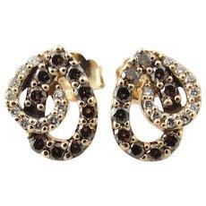 Vintage 14 Karat Rose Gold and Diamond Earrings