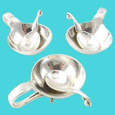 3 George Jensen Sterling Silver Salt Cellars and Matching Spoons #110