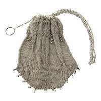 Vintage Sterling Silver Beaded Mesh Purse Pull Closure