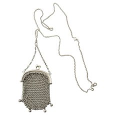 Vintage Sterling Silver Mesh Purse on Chain Necklace