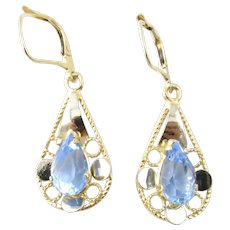 Vintage 18 Karat Yellow Gold Blue Topaz Earrings