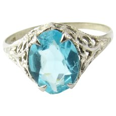 Vintage 10 Karat White Gold Blue Topaz Ring Size 7.5