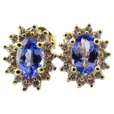 Vintage 14 Karat Yellow Gold Tanzanite and Diamond Earrings
