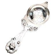 Vintage Stavre Gregor Panis Sterling Silver Flower Design Tea Strainer