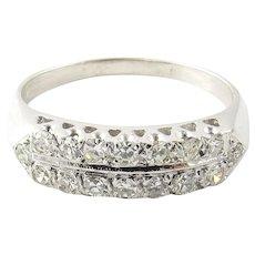 Vintage 14 Karat White Gold Diamond Wedding Band Size 8.75