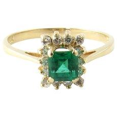 Vintage 14 Karat Yellow Gold Emerald and Diamond Ring Size 6.25