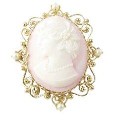 Vintage 14 Karat Yellow Gold and Pearl Pink Cameo Brooch/Pendant