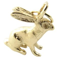 Vintage 14 Karat Yellow Gold Rabbit Charm