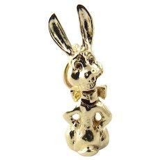 Vintage 14 Karat Yellow Gold Bobble Head Rabbit Charm