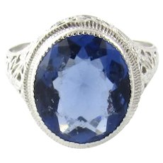 Vintage 10 Karat White Gold Synthetic Sapphire Ring Size 6.5