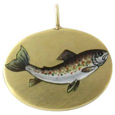 Vintage 18 Karat Yellow Gold Trout Fish Pendant