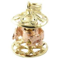 Vintage 14 Karat Yellow Gold Mechanical Carousel Charm