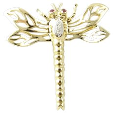 Vintage 14 Karat Yellow Gold Diamond and Ruby Dragonfly Brooch/Pin