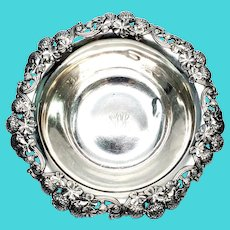 """Antique Tiffany & Co Sterling Silver Bowl Clover Pattern with Monogram, 10"""""""
