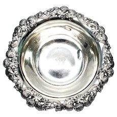 Antique Tiffany & Co Sterling Silver Bowl Clover Pattern with Monogram, 10""