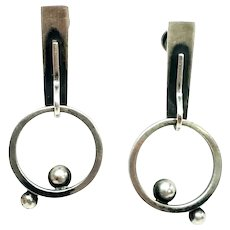 Vintage Bill Tendler Sterling Silver Modernist Screwback Earrings