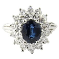 Vintage Platinum Sapphire and Diamond Ring Size 6.5
