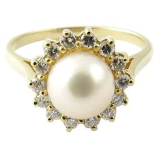 Vintage 14 Karat Yellow Gold Pearl and Diamond Ring Size 8.5