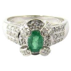 Vintage 14 Karat White Gold Emerald and Diamond Ring Size 8