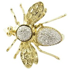 Vintage 14 Karat Yellow Gold and Diamond Bee Pin/Brooch