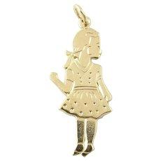 Vintage 14 Karat Yellow Gold Girl Charm