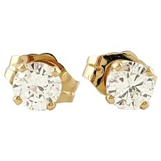 Vintage 14 Karat Yellow Gold Diamond Stud Earrings .40 ct. twt.