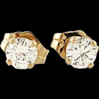Vintage 14 Karat Yellow Gold Diamond Stud Earrings .40 ct. twt.
