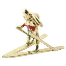 Vintage 14 Karat Yellow Gold Skier Charm