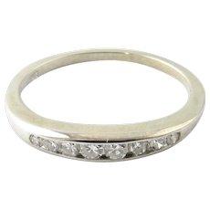 Vintage 14 Karat White Gold and Diamond Wedding Band Size 6.25