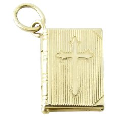 Vintage 14 Karat Yellow Gold Bible Charm/Pendant