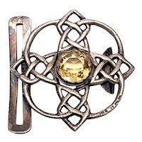 Antique Lawrence Emanuel Sterling Silver Citrine Celtic Belt Buckle