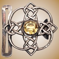 Antique Lawrence Emanuel Sterling Silver Citrine Celtic Belt Buckle