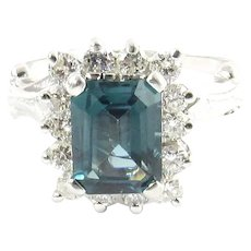 Vintage 14 Karat White Gold London Blue Topaz and Diamond Ring Size 7