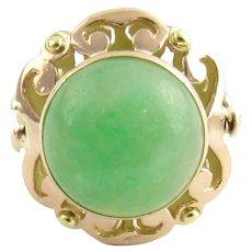 VIntage 14 Karat Yellow Gold and Jade Ring Size 4.5