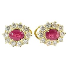 Vintage 18 Karat Yellow Gold Ruby and Diamond Earrings