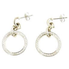 Vintage 18 Karat White Gold and Diamond Hoop Earrings