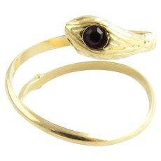 Vintage 18 Karat Yellow Gold Snake Ring Size 4